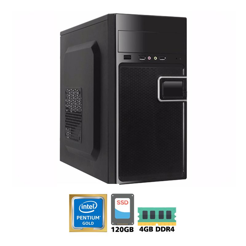 Computador Intel Dual Core G5400 3,7GHz - 4MB Cache - LGA 1151, Memória RAM 4GB DDR4, SSD 120GB, Placa Mãe Chipset H310, Gabinete com Fonte ATX