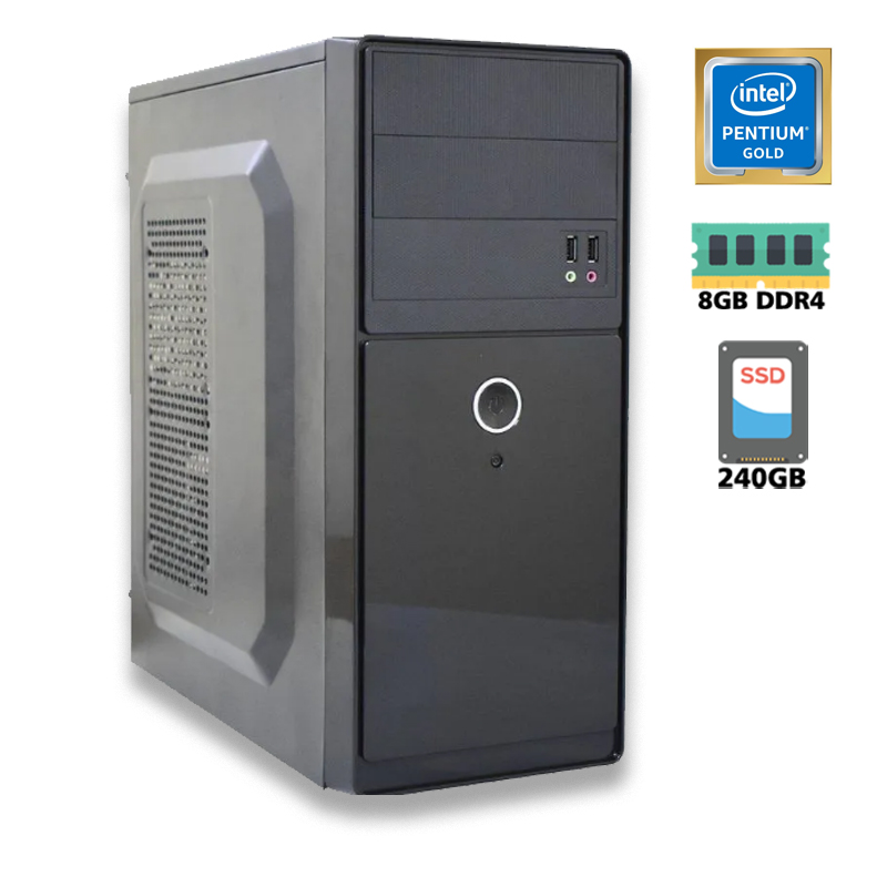 Computador Intel Dual Core G6405 4,1GHz Decima Geração - 4MB Cache - LGA 1200, Memória RAM 8GB DDR4, SSD 240GB Kingston, Placa Mãe PC WARE H510, Gabinete com Fonte ATX
