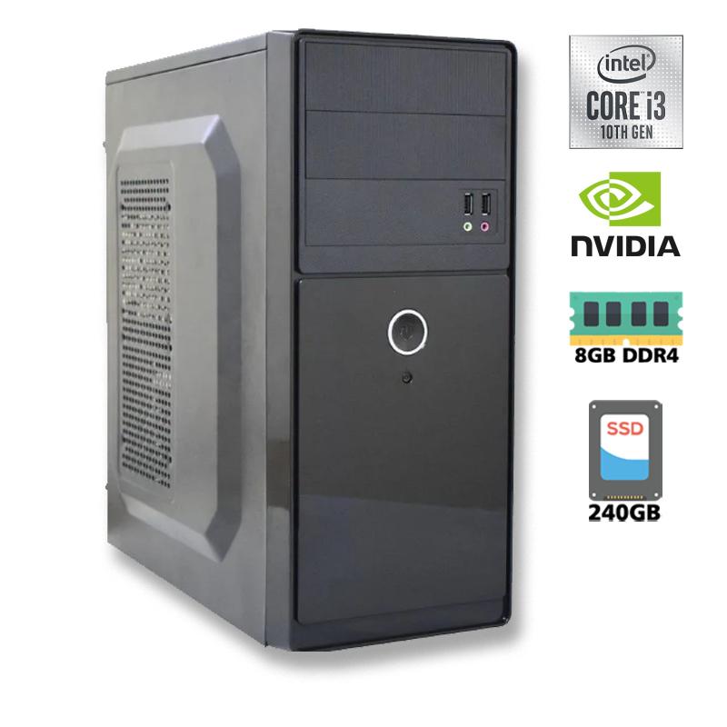 Computador Intel I3 10100F 3,6GHz Décima Geração - 6MB Cache - LGA 1200, Memória RAM 8GB DDR4, SSD 240GB, Placa Mãe Gigabyte H410M H Chipset H410, VGA G210 1GB, Gabinete com Fonte ATX