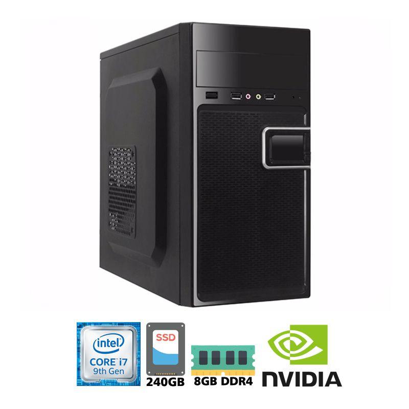 Computador Intel i7 9700F 3,0GHz - 12MB Cache - LGA 1151 - 9ª Geração, Memória RAM 8GB DDR4 Kingston, SSD 240GB Sandisk, VGA Nvidia GeForce G210 1GB, Placa Mãe Asus H310
