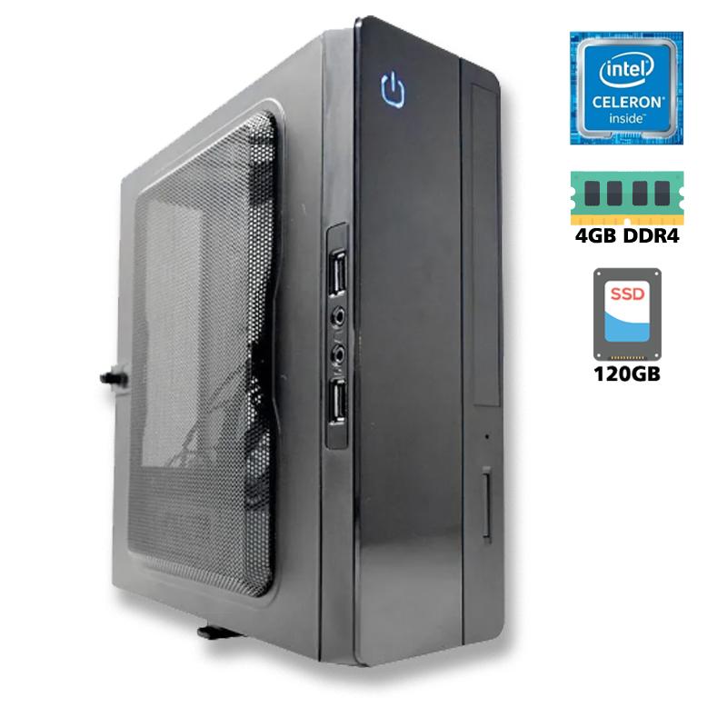 Computador Slim Mini-ITX CPU Intel Celeron Dual Core J4005 2.41GHz + MB IPX4005E, 4GB DDR4 2666MHz, SSD 120GB