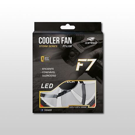 Cooler Fan C3Tech Storm 12MM 30 Leds vermelhos - F7-L130RD