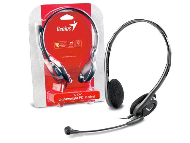 Fone de Ouvido C/ Microfone Headset Genius HS-200C Slim, Preto - 31710151100