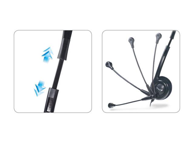 Fone de Ouvido C/ Microfone Headset Genius HS-M200C Slim, Preto, P2, Ajustável - 31710151103