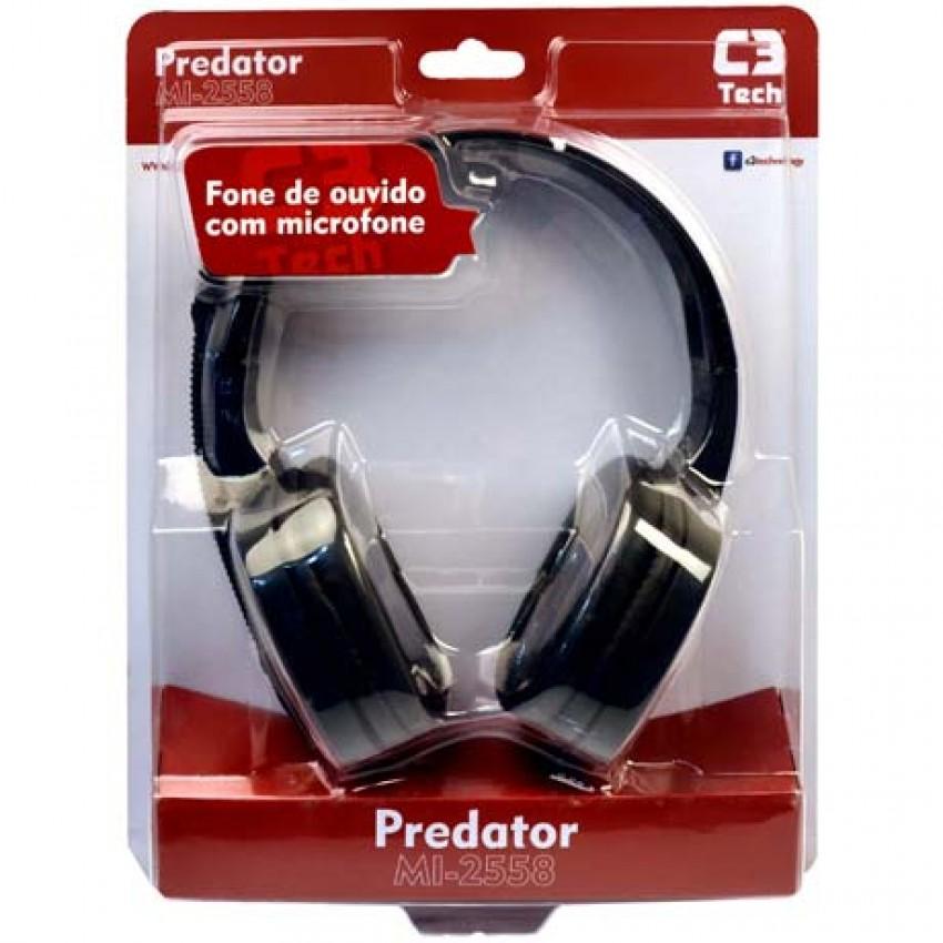 Fone de Ouvido Headset Gamer C3 Tech Predator com Microfone MI-2558RB