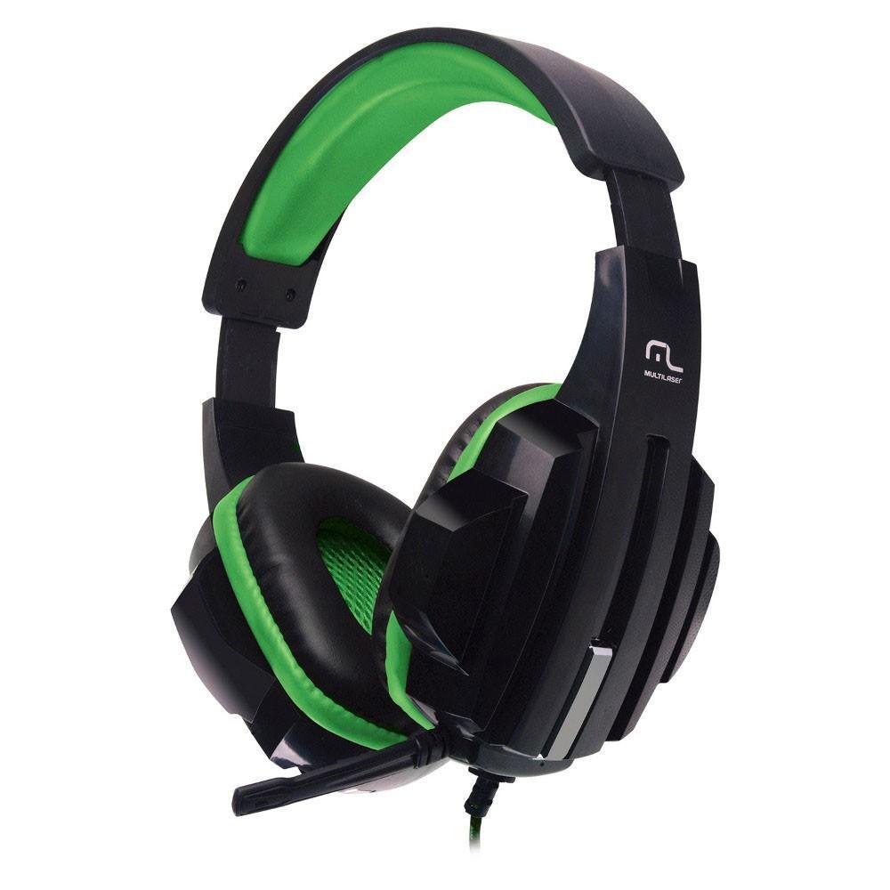 Fone de Ouvido Headset Gamer Multilaser P2 Preto/Verde - PH123