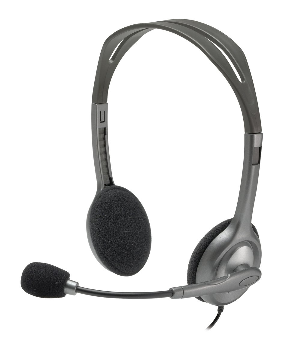 Fone de Ouvido Headset H110 P2 c/ Microfone Logitech, Prata - 981-000214