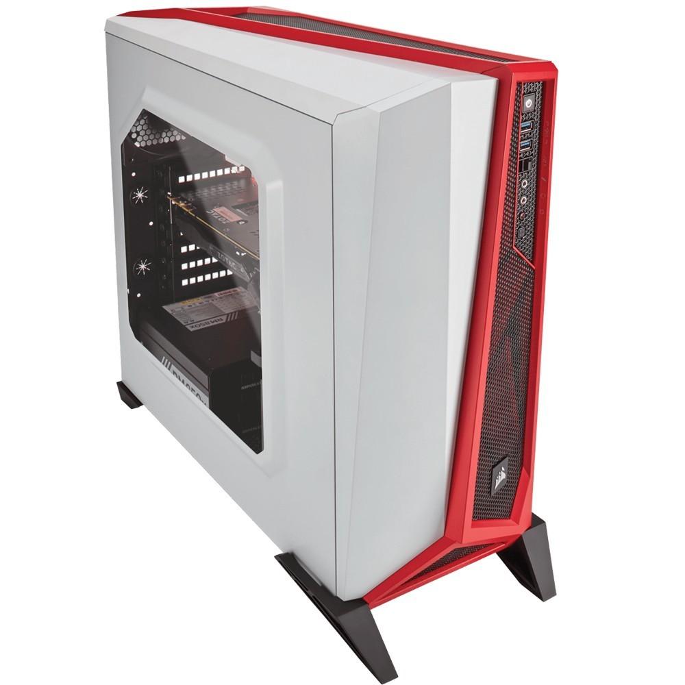 Gabinete Gamer Corsair Carbide Spec Alpha Edition Branco/Vermelho sem Fonte - CC-9011083-WW