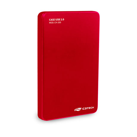 "Gaveta Case C3 Tech P/ HD 2.5"" Sata 2.0 USB 480Mbps, Vermelho - CH-200RD"