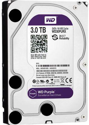 HD p/ DVR NVR WD WD30PURX Purple 3TB 6GBps 64MB SATA