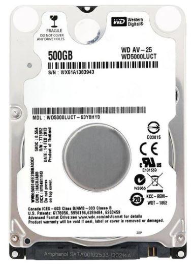 HD NOTEBOOK 500GB WESTERN DIGITAL 5400 RPM
