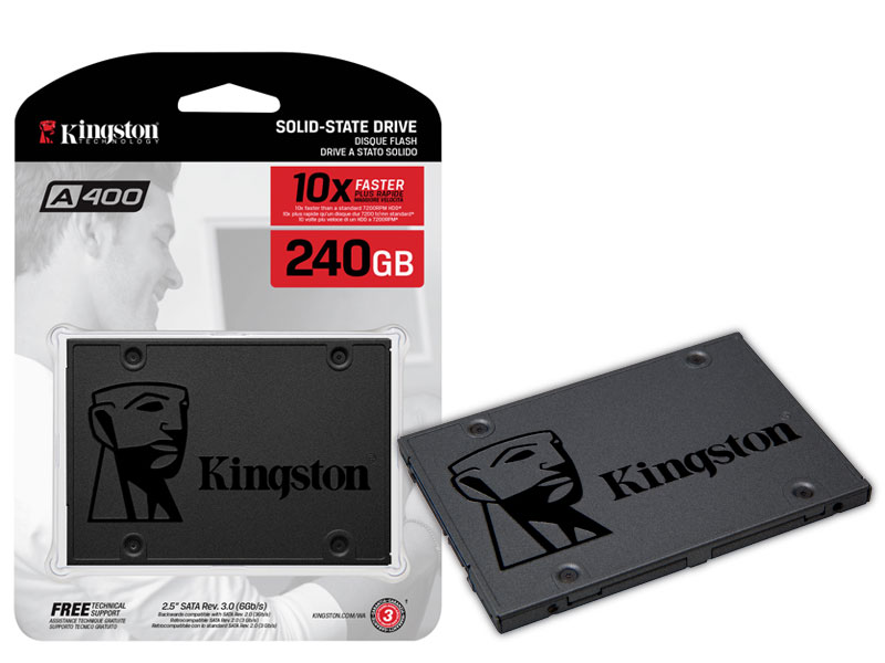"HD SSD Kingston 2.5"" 240GB A400 SATA III Leituras: 500MBs / Gravações: 350MBs - SA400S37/240G"