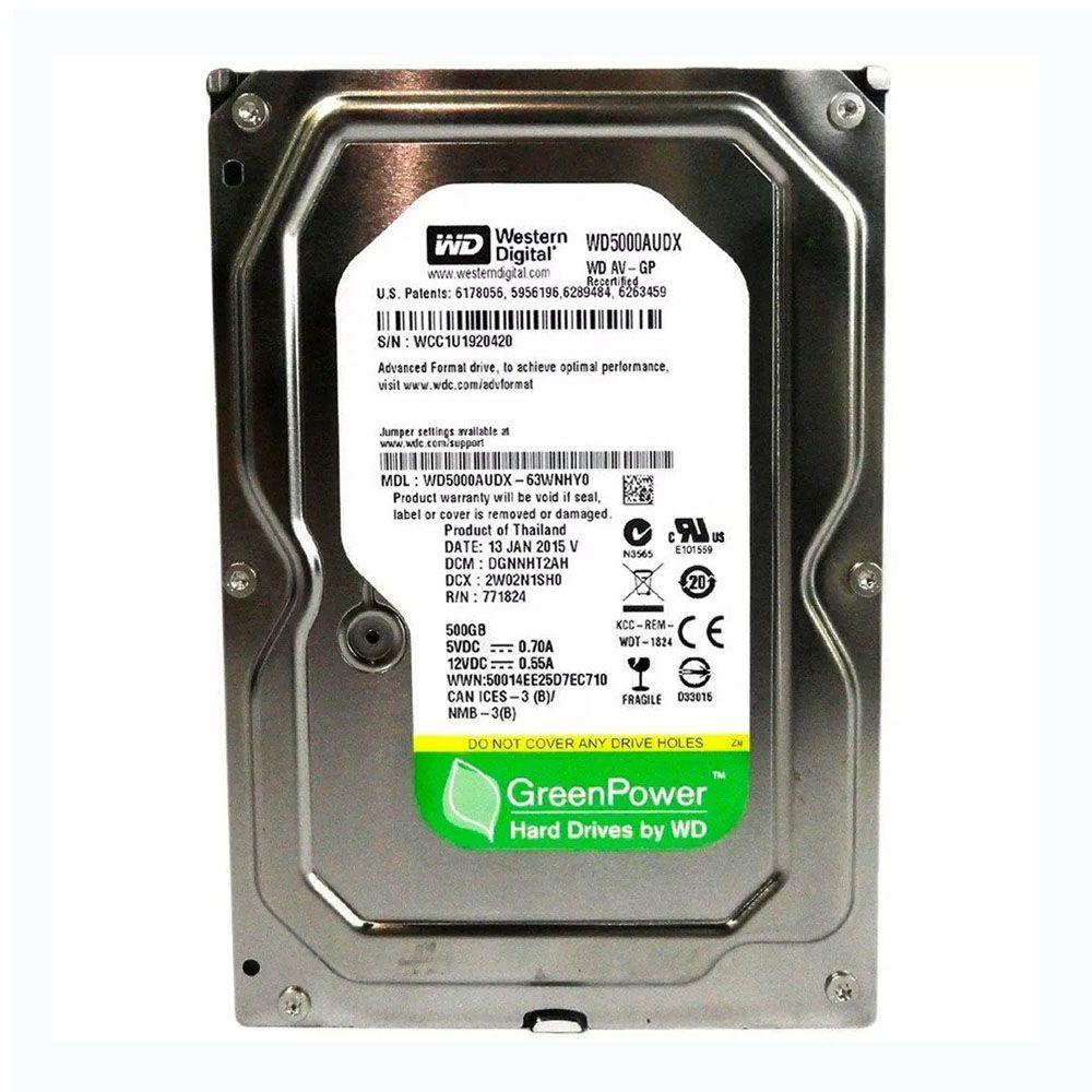 HD WD SATA 3,5´ Green 500GB 7200RPM 16MB Cache SATA 6.0Gb/s - WD5000AUDX