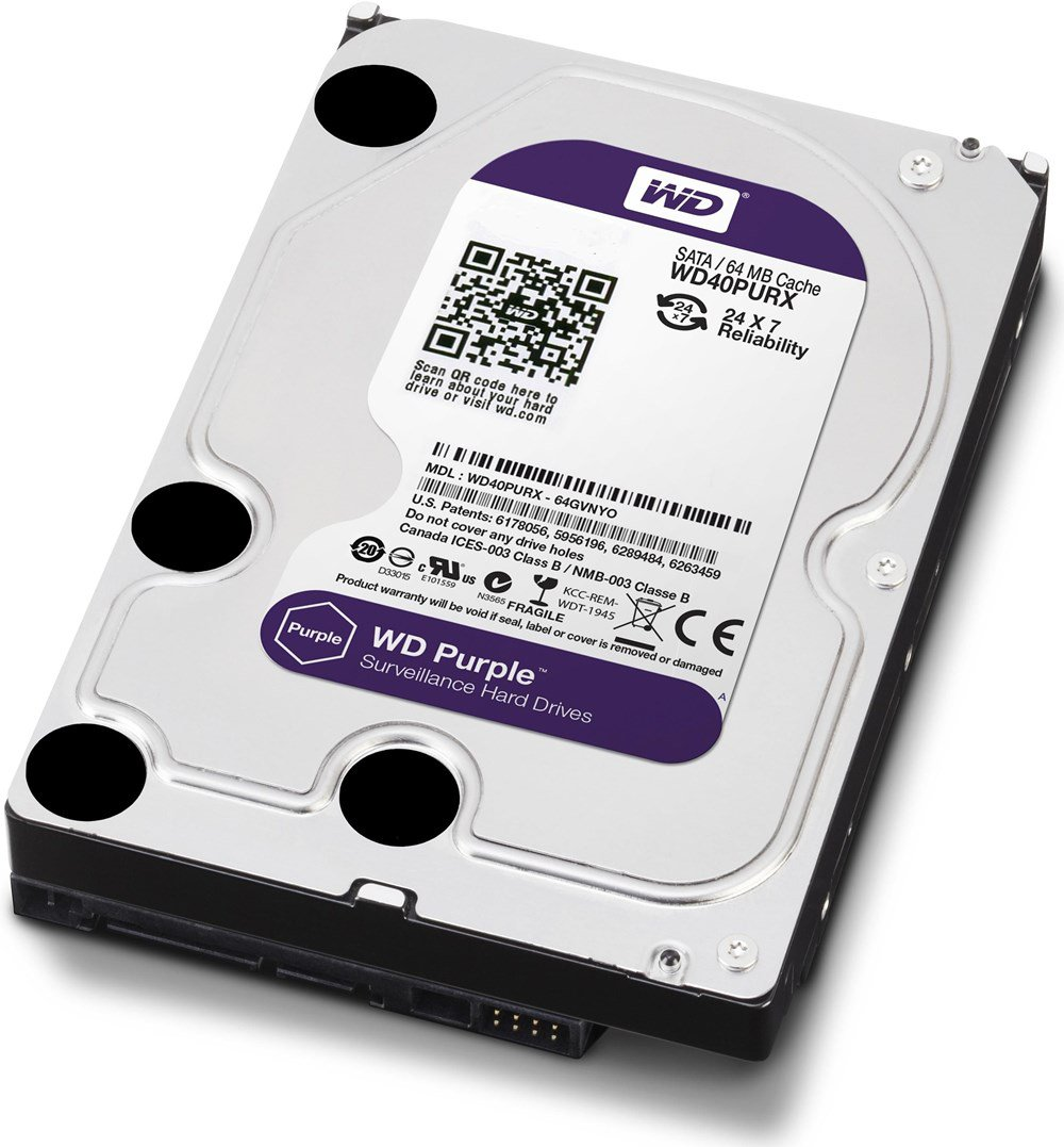 HD 1TB Western Digital Purple - Surveillance - 64MB Cache, SATA 3 6.0Gb/s - WD10PURX - para DVR