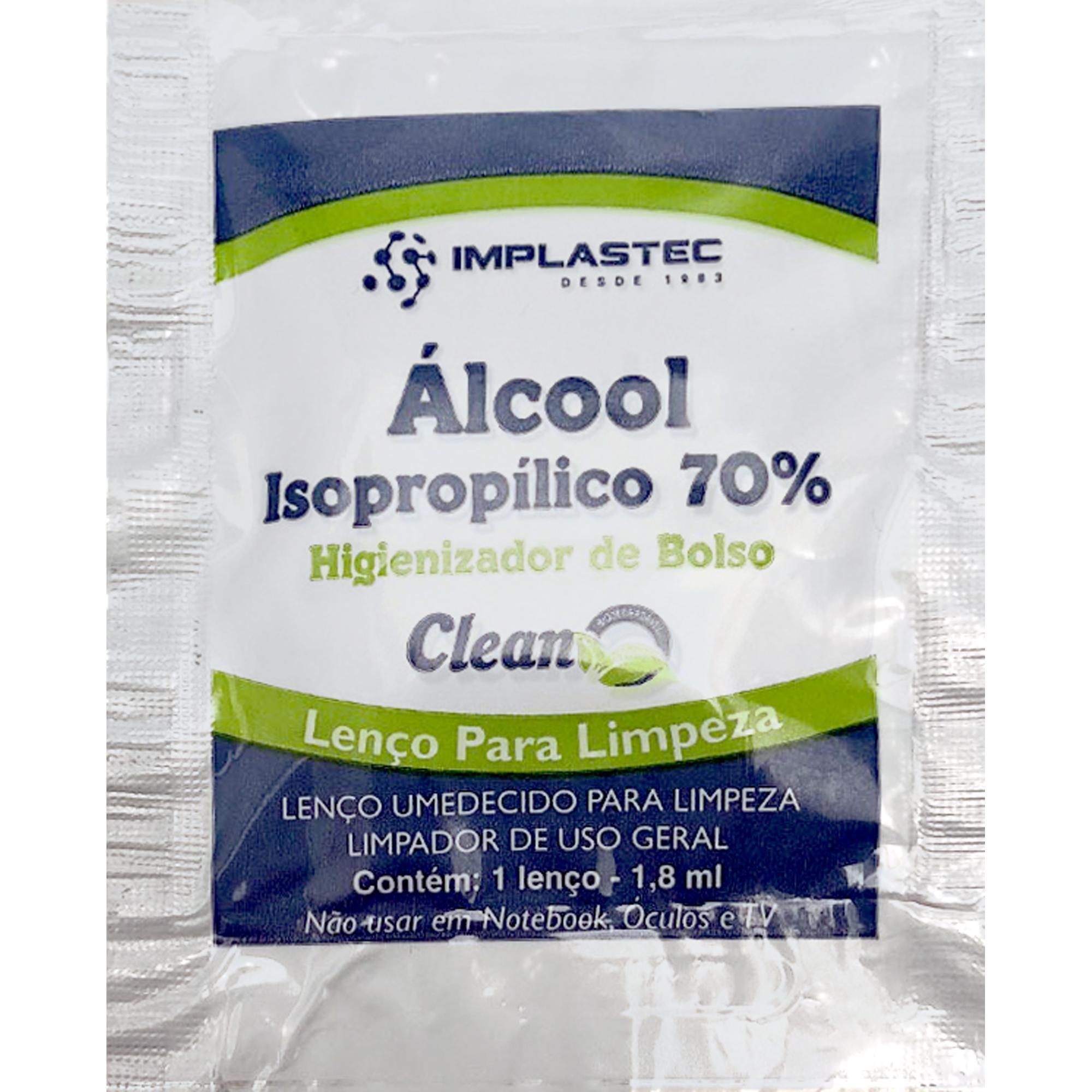 Higienizador de Bolso Clean IMPLASTEC com Álcool Isopropílico 70%