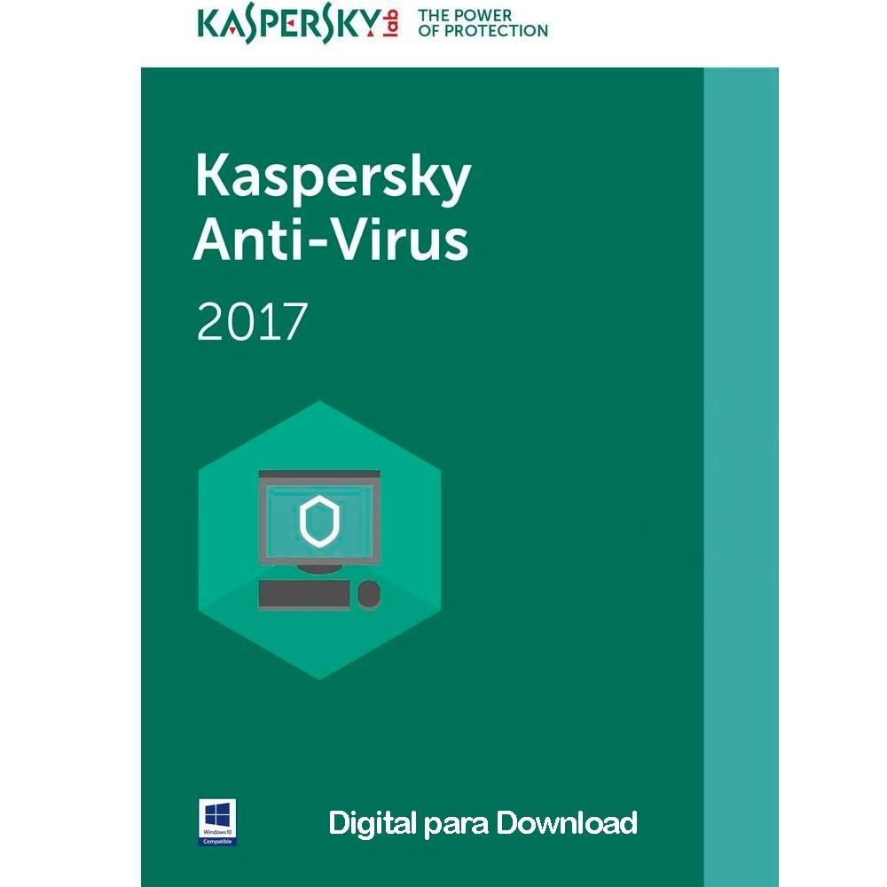Kaspersky Antivírus 2017 - Licença 1 Ano - Digital para Download