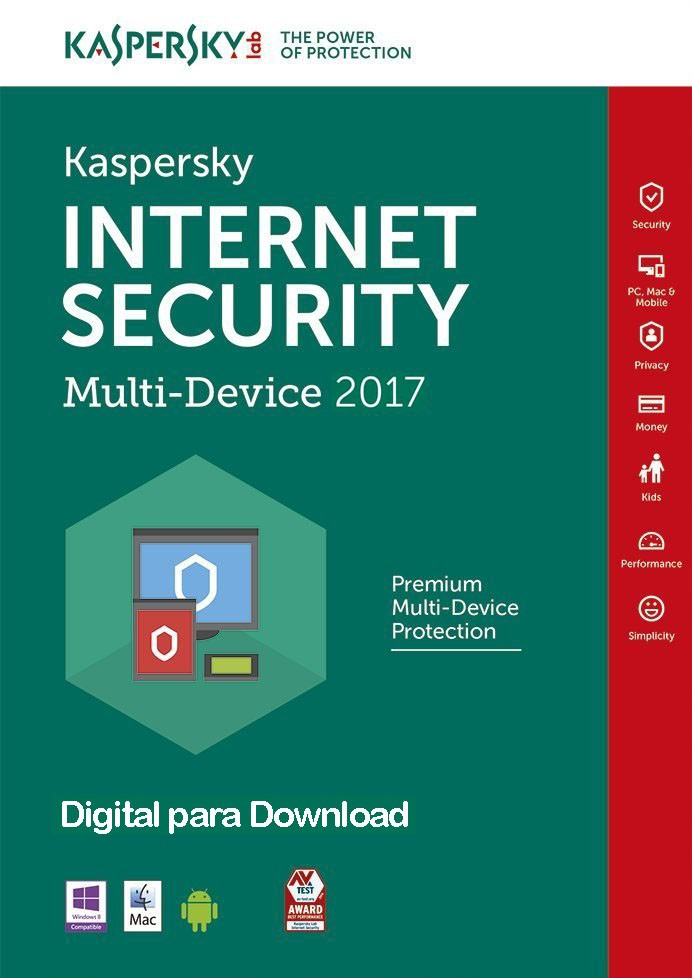 Kaspersky Internet Security 2017 Multidispositivos - Licença 1 Ano - Digital para Download