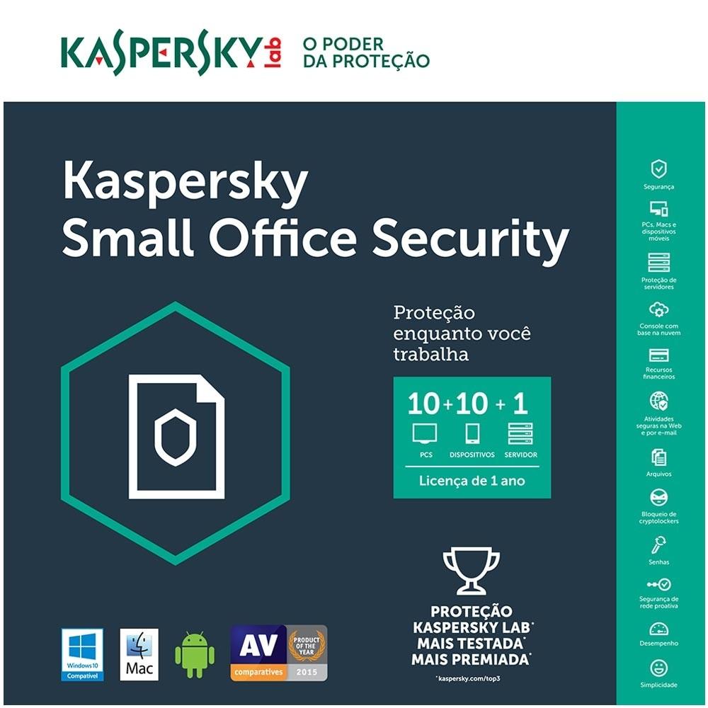 Kaspersky Small Office Security Multidispositivos 10 PCs + 10 Mobile + 1 Server - Licença 1 Ano - Digital para Download