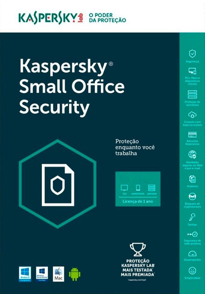 Kaspersky Small Office Security Multidispositivos - 10 PCs + 10 Mobiles + 1 Server - Via Download - 1 Ano