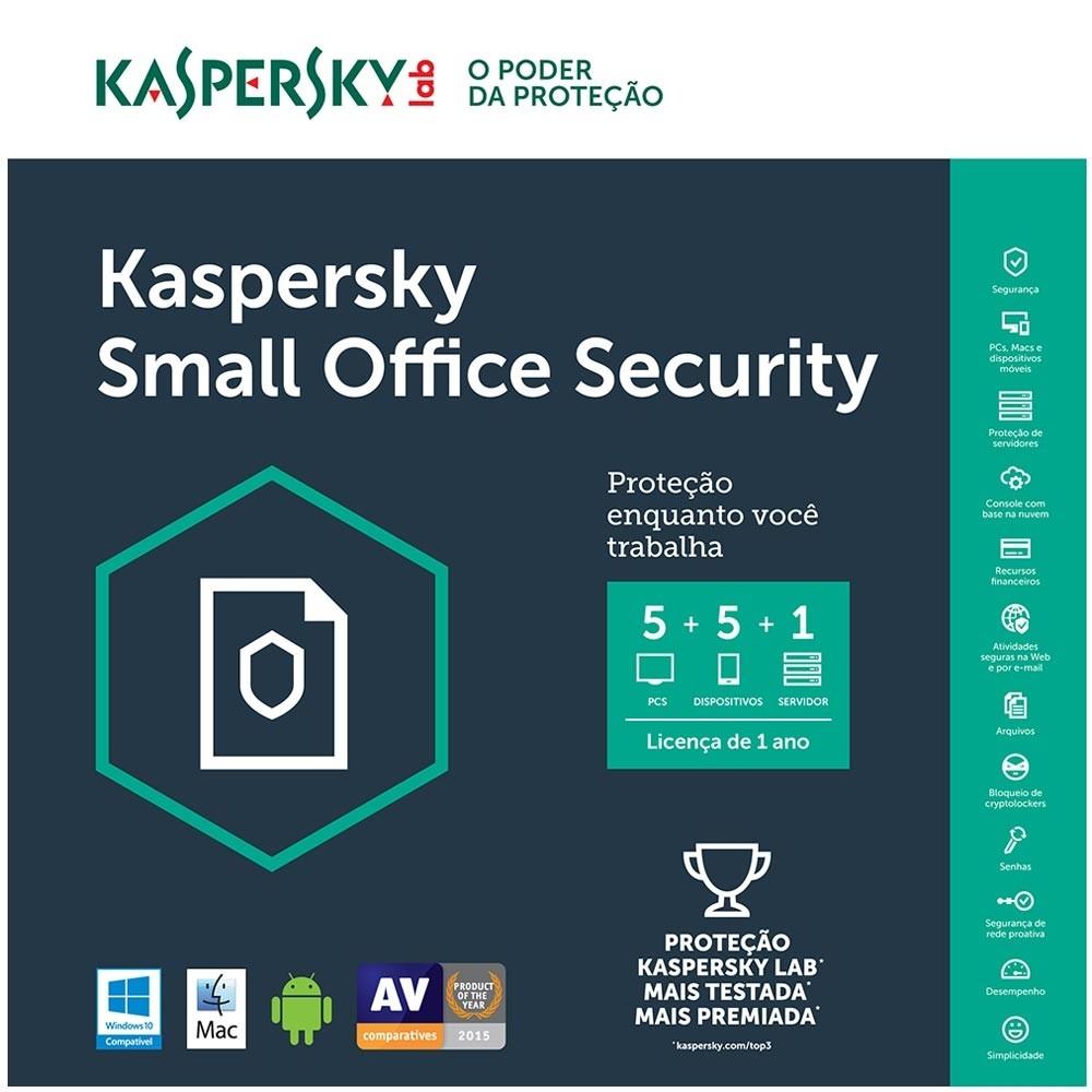 Kaspersky Small Office Security - Multidispositivos 5 PCs + 5 Mobile + 1 Server - Licença 1 Ano - Digital para Download