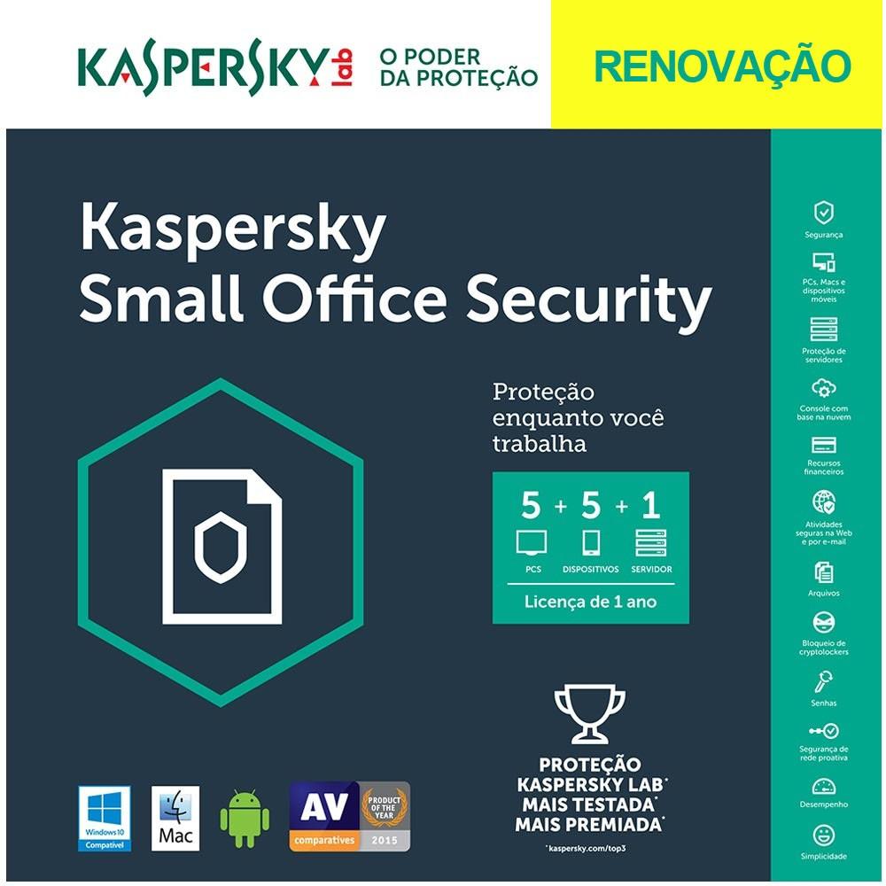 Kaspersky Small Office Security - Multidispositivos 5 PCs + 5 Mobile + 1 Server - RENOVAÇÃO - Licença 1 Ano - Digital para Download