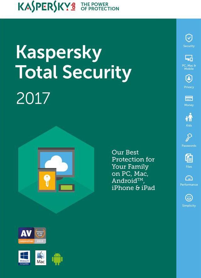 Kaspersky Total Security 2017 Multidispositivos 3 PCs + 1 Grátis - Licença 1 Ano -  Digital para Download