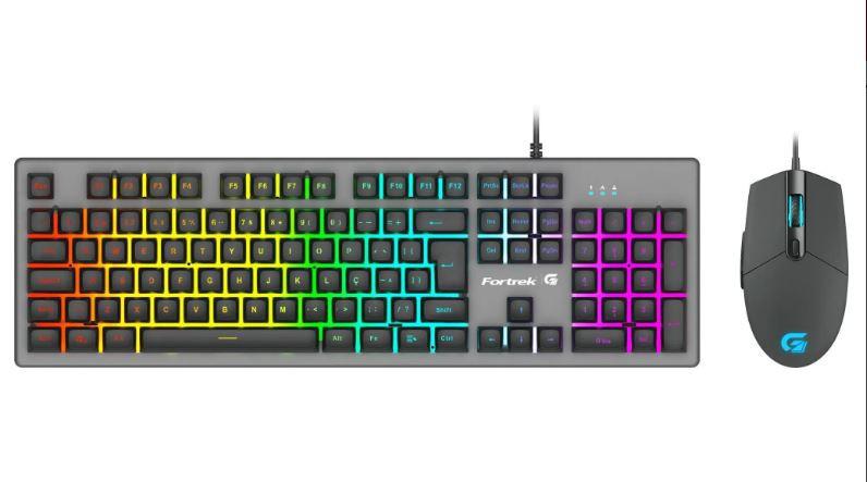 Kit 2x1Teclado + Mouse FORTREK Gamer RANGER RGB Rainbow - Grafite