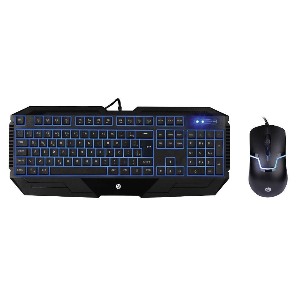 Kit Teclado e Mouse HP GK1100, Teclado com Iluminação em Led Azul e Mouse 1600 DPI