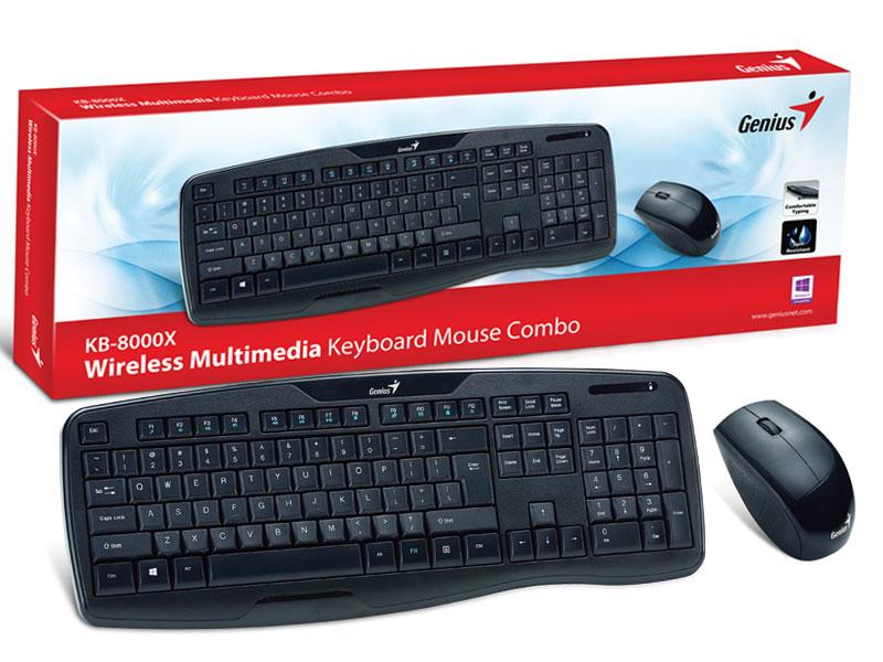 Kit Teclado e Mouse Wireless Genius KB-8000X, 2.4Ghz, Preto - 31340005113