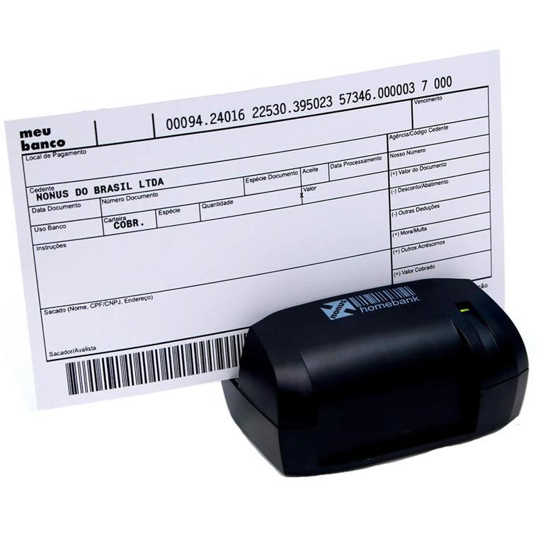 Leitor Manual de Boletos Bancários e Cheques Nonus Homebank 10 USB 2.0