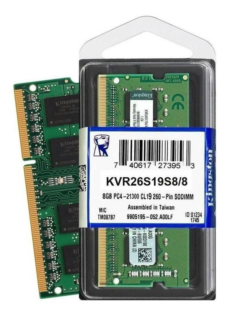 Memória Notebook 8gb 2666mhz Kingston - KVR26S19S8/8