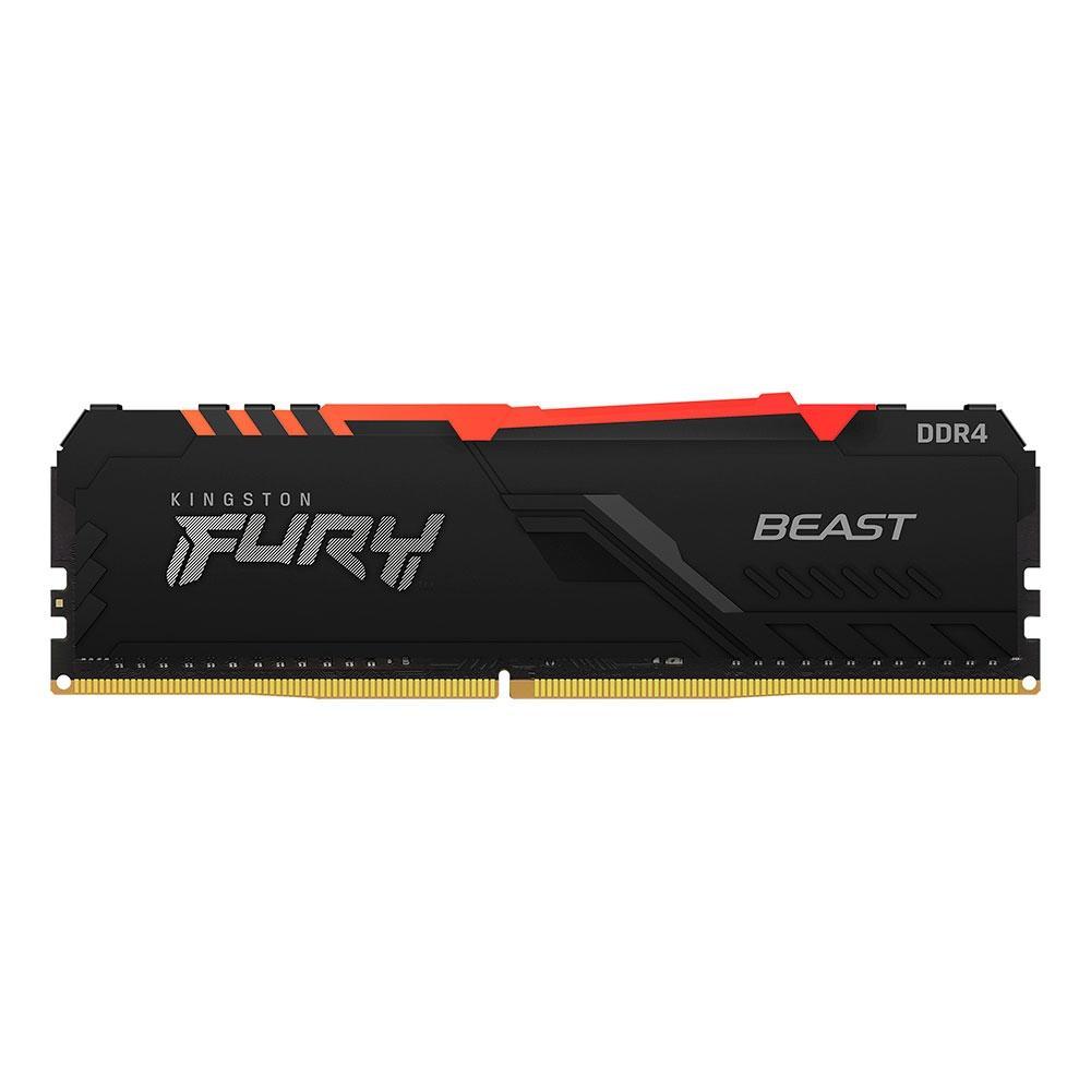 Memória RAM 8GB DDR4 3200MHz CL16 Kingston Fury Beast RGB - Desktop - KF432C16BBA/8