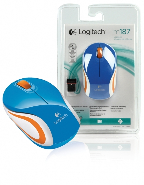 Mini Mouse Logitech M187 Wireless, S/ Fio, Azul