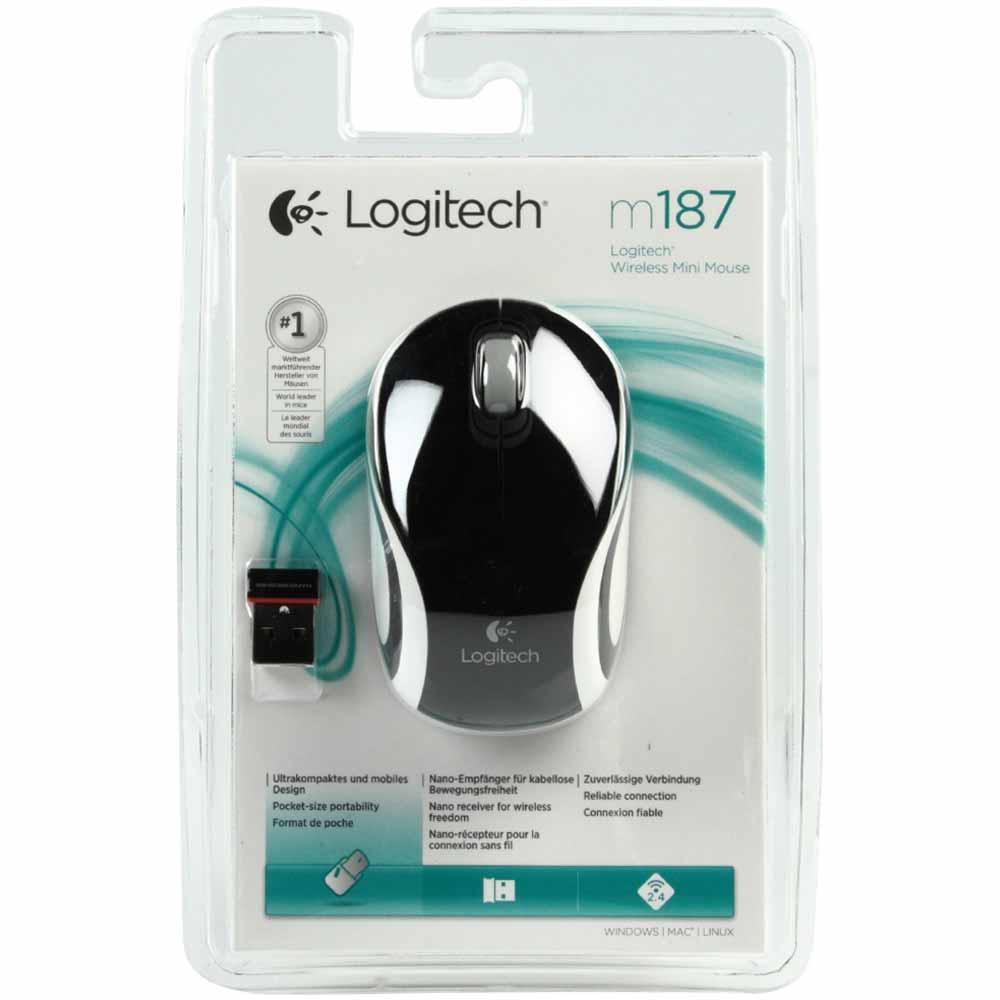 Mini Mouse Logitech M187 Wireless, S/ Fio, Preto