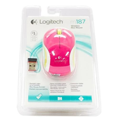 Mini Mouse Logitech M187 Wireless, S/ Fio, Rosa