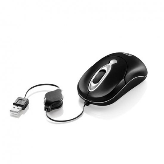 Mini Mouse Retrátil USB C3 Tech, Preto/Prata - MS3208-2BSI