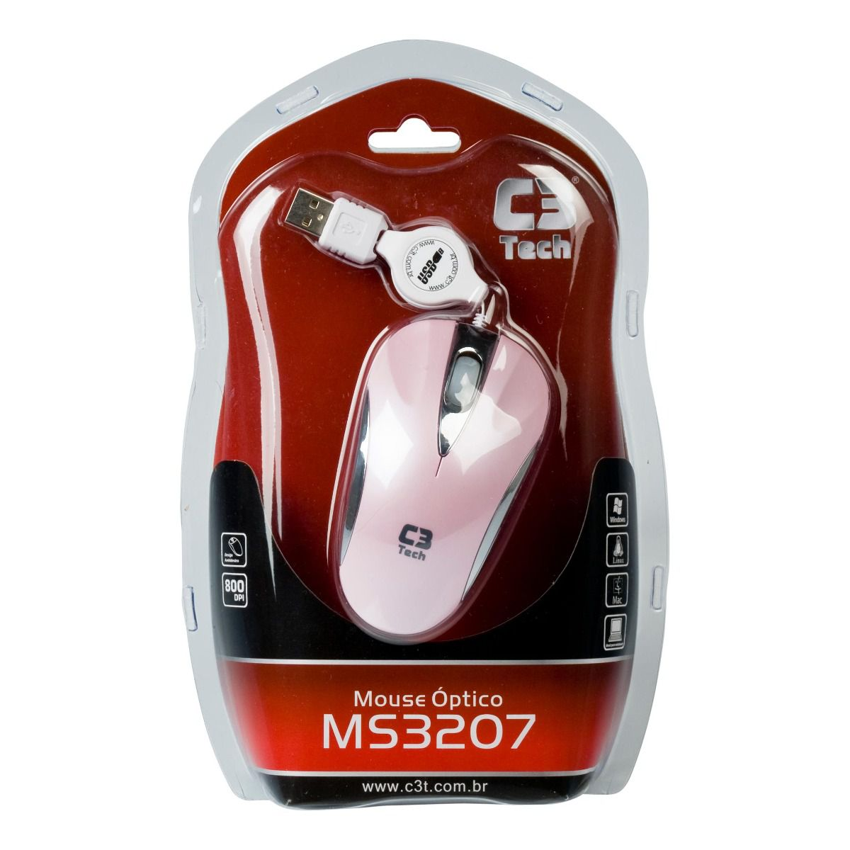 Mini Mouse Retrátil USB C3 Tech, Rosa - MS3207-2 PSI