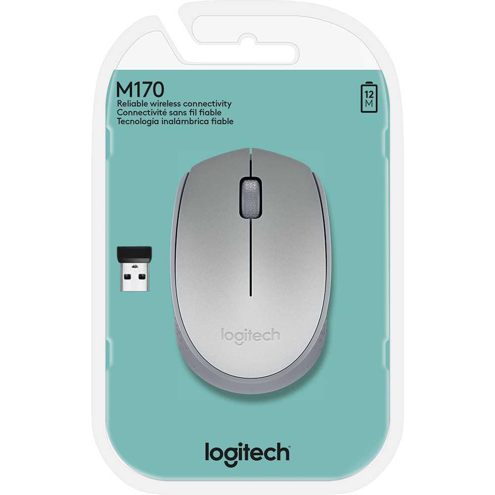 MOUSE LOGITECH M170 USB WIRELESS PRATA, 910-005334