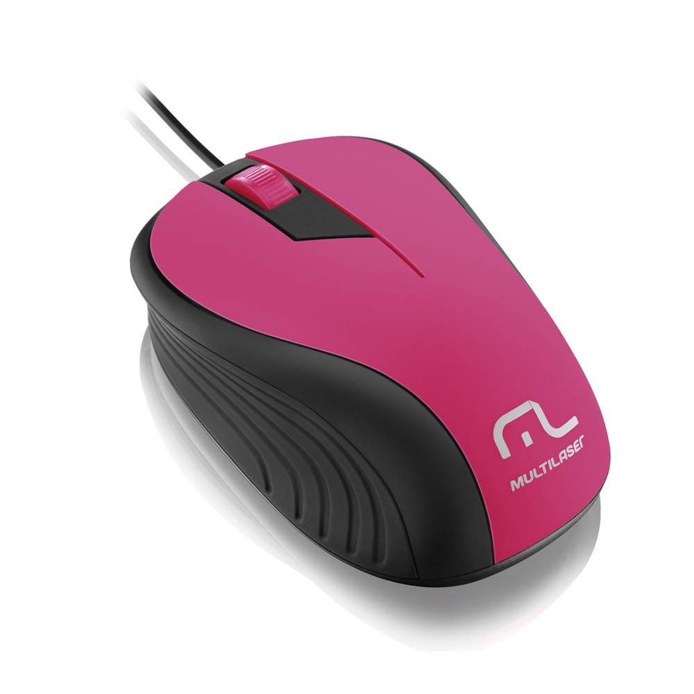 Mouse Multilaser Emborrachado Rosa com Preto - MO223