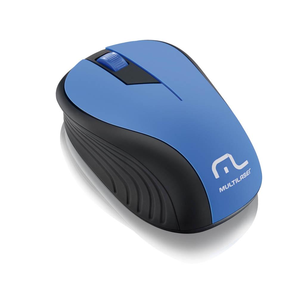 Mouse Multilaser Sem Fio 2.4GHz 1200dpi MO215 Preto e Azul