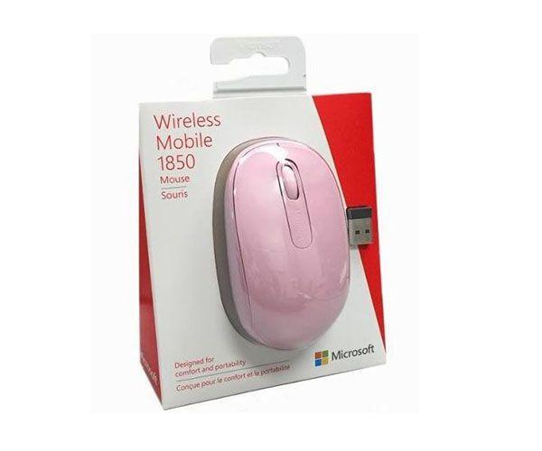Mouse Óptico Microsoft 1850 S/ Fio, Rosa - U7Z-00028