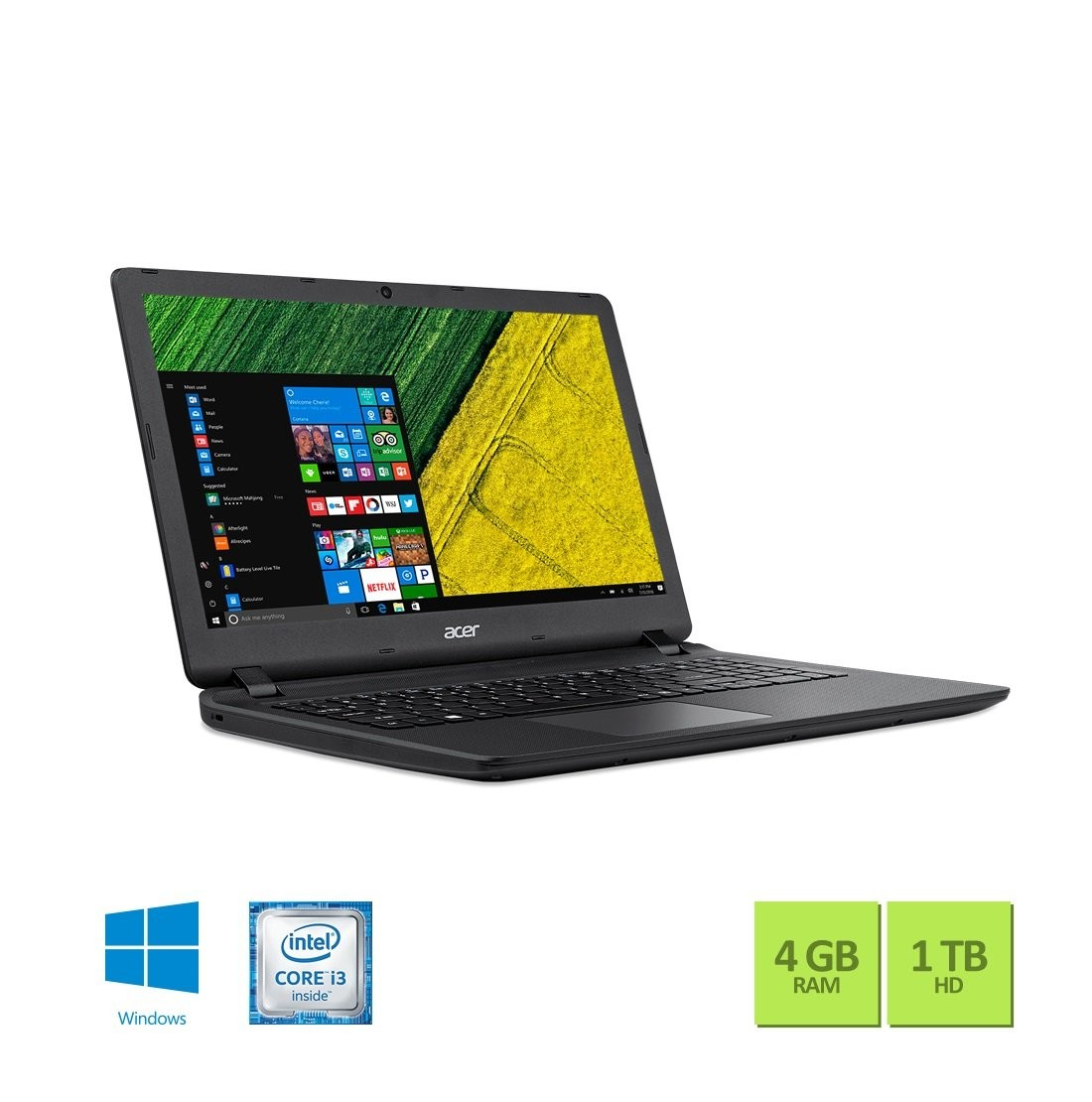 "Notebook Acer ES1-572-3562 Intel Core I3 6006u, 4GB Mem. RAM, HD 1TB, Tela 15,6"" Windows 10 Home Preto"