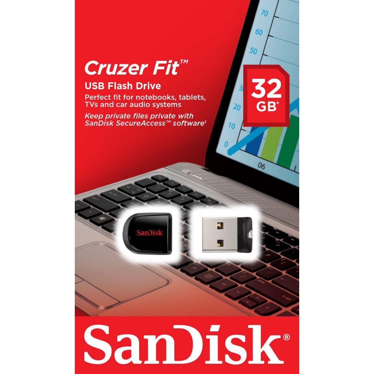 PenDrive SanDisk Cruzer Fit 32GB, USB 2.0 - SDCZ33-032G-B35