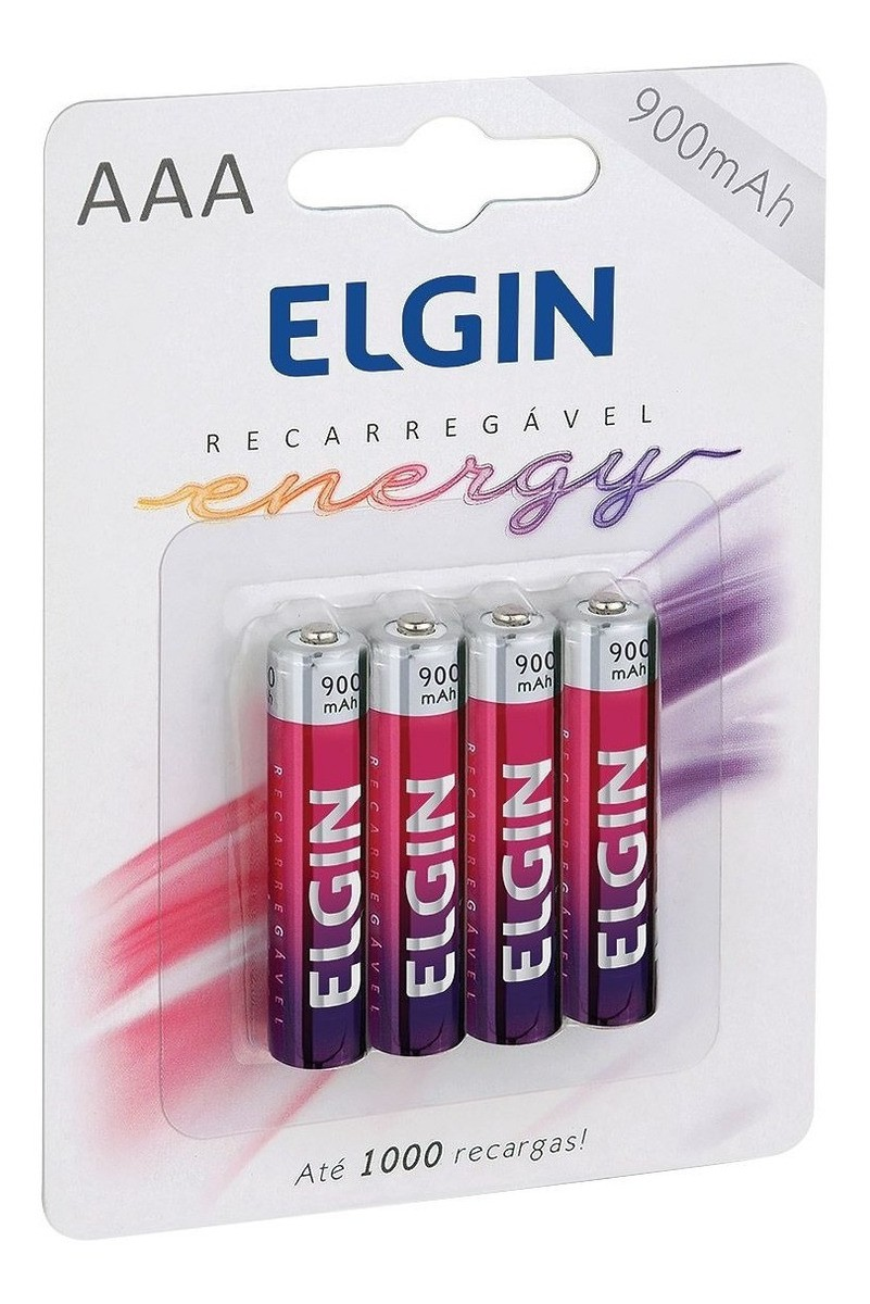 Pilha Palito Elgin Recarregavel AAA 900mah C/4 - 82169 Elgin