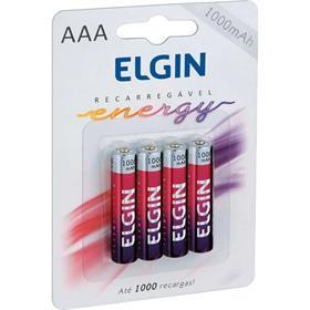 Pilha Recarregável Elgin AAA 1000MAH Palito - com 4 pilhas - 82171
