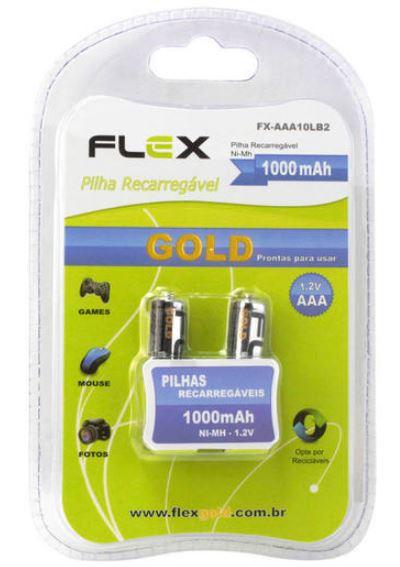 Pilha Recarregável FlexGold AAA, 1100mAh, 1.2V C/ 2 Unidades - FX-AAA10LB2