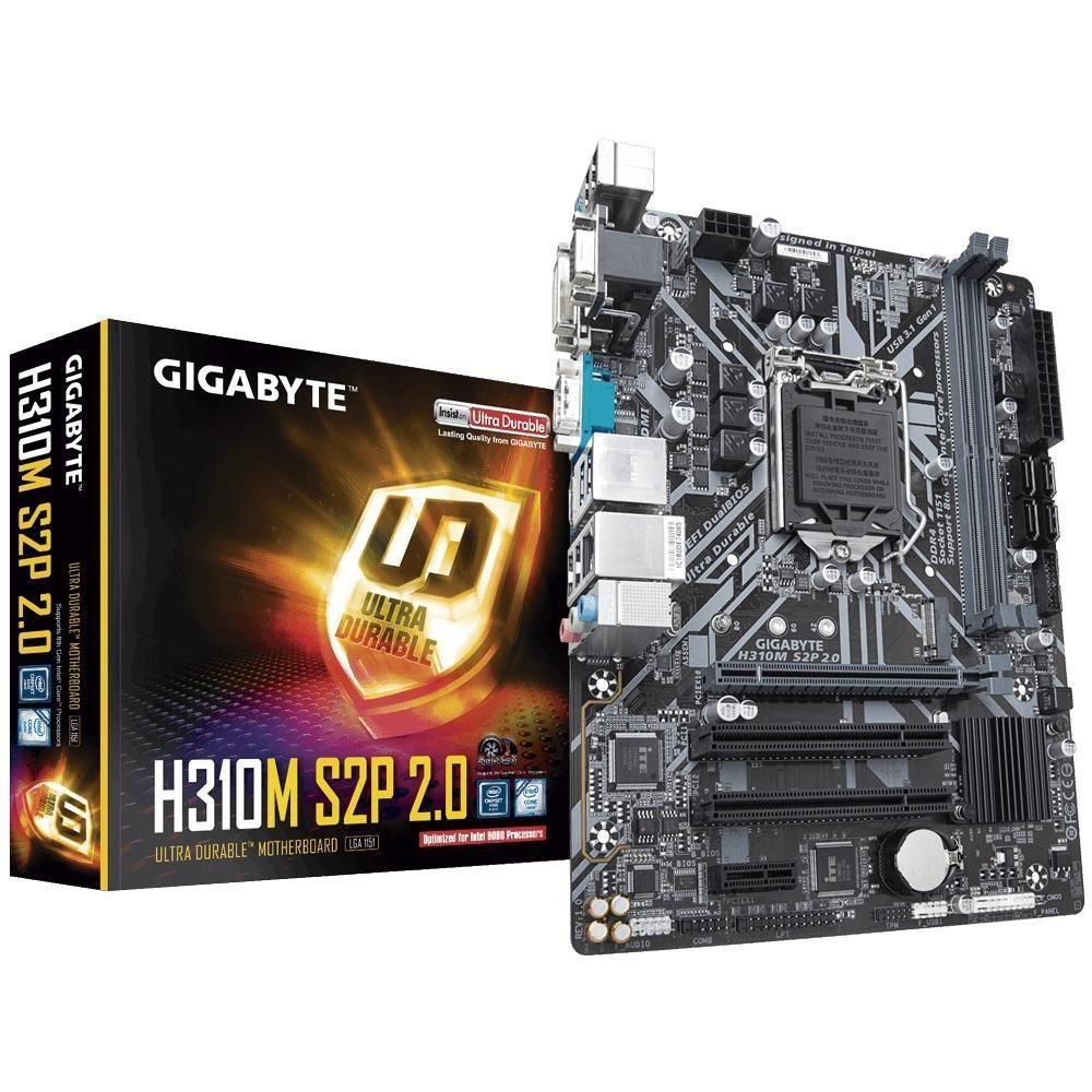 Placa Mãe Gigabyte GA-H310M S2P 2.0 DDR4 D-Sub DVI USB 3.1 HDMI M.2