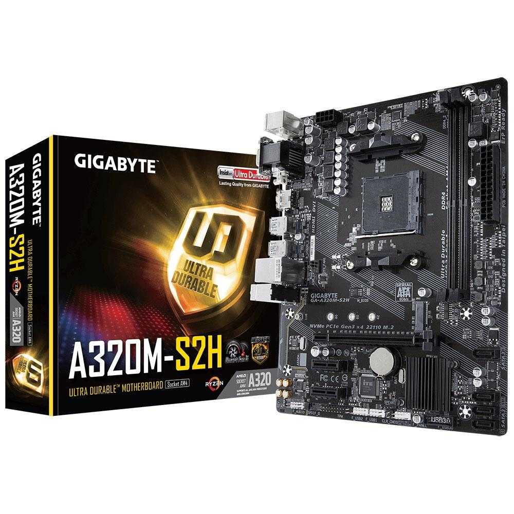 Placa-Mãe GIGABYTE p/ AMD AM4 mATX GA-A320M-S2H, 2xDDR4 32GB, HDMI, DVI, M.2, PCIe, USB 3.1 Ger 1