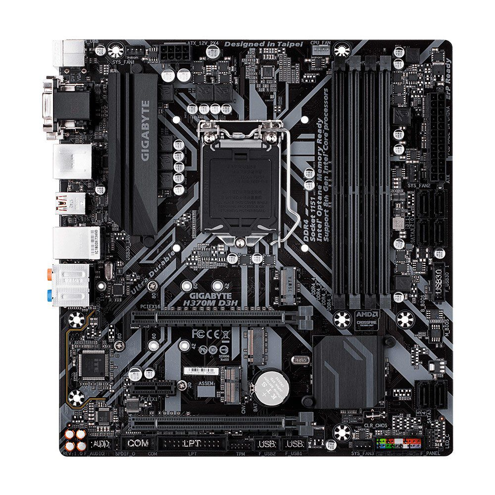 Placa Mãe MB GigaByte GA-H370M D3H p/ Intel 8ª Geração, mATX, LGA 1151, DDR4, HDMI/DVI/VGA, USB 3.1