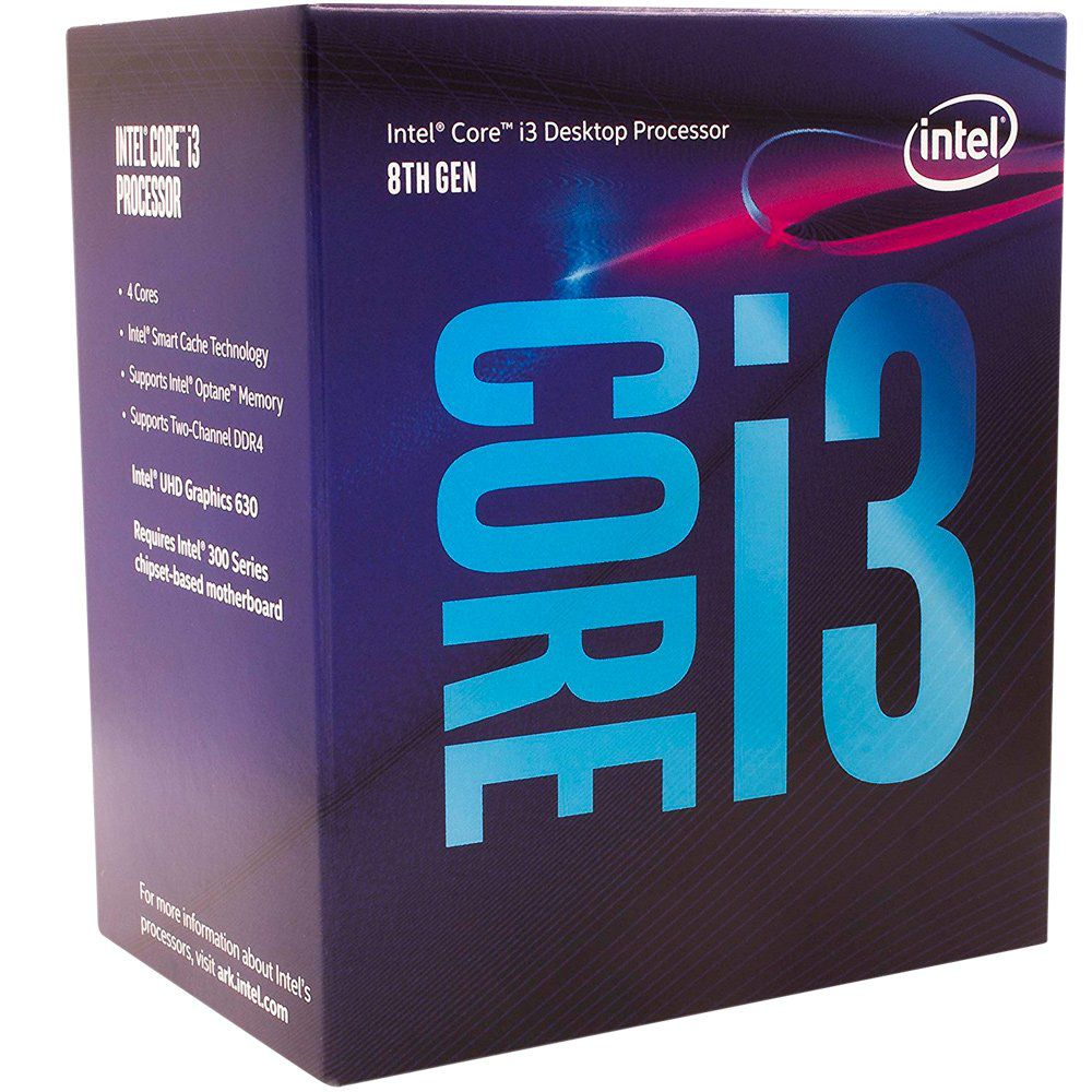 Processador CPU Intel Core i3-8100 Coffee Lake 8a Geração, Cache 6MB, 3.6GHz, LGA 1151 Intel UHD Graphics 630 - BX80684I38100